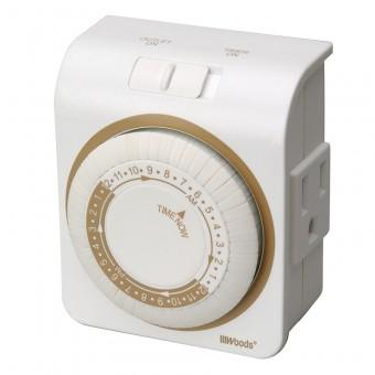 Woods 50001 Indoor 24-Hour Mechanical Plug-In Timer, 3-Prong