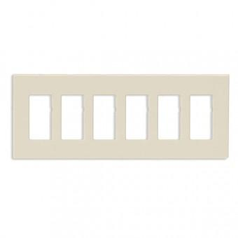 Leviton 80326-ST 6-Gang Screwless Decora Wall Plate, Light Almond